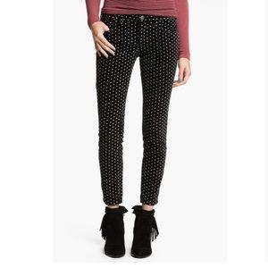 Free People White & Black Polka Dot Velvet Jeans